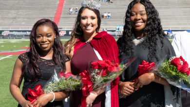 Photo of Smith crowned as queen during HSU Homecoming 2018